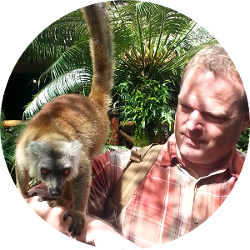 Brett and a Lemur in Madagascar!