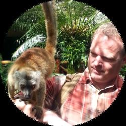 Brett and a Lemur in Madagascar!