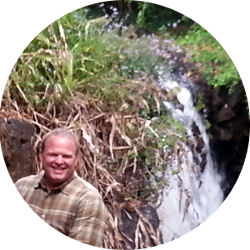Brett by a waterfall in Mauritius!