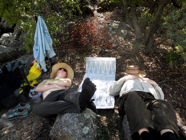 Our first siesta - shade and feet up. Photo by Ashley Fisher.