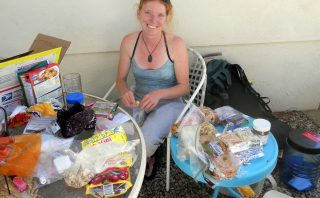 Sorting Food Resupply at Hiker Heaven in Agua Dulce